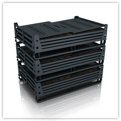 Складирование сложенных ящичных поддонов УКС-ПЯ-5